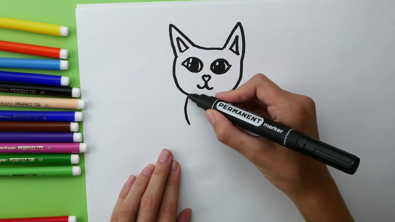 How To Draw Kitty and Coloring Cat for Kids. Kitten Coloring pages for  children