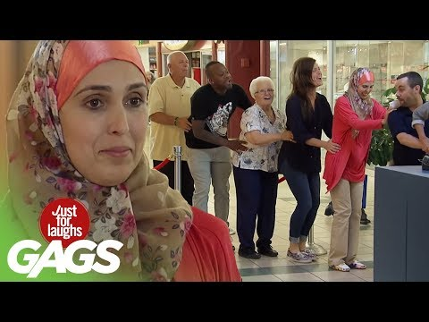 The Bunny Hop Dance in Line Prank! - Just For Laughs Gags