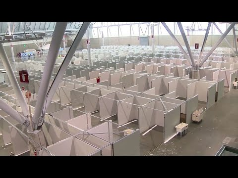 First Look At Coronavirus Field Hospital At Boston Convention And Exhibition Center