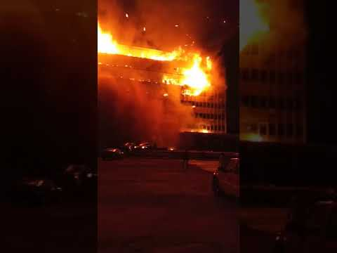CAMEROON PARLIAMENT BUILDING ON FIRE.