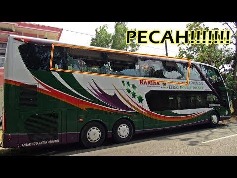 BRAKK! PYARR! Hantam Pohon, Kaca Bus Double Deck Rusak Parah di Pamekasan