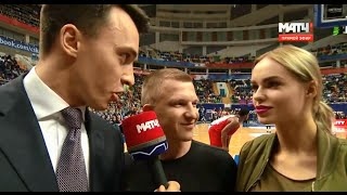 Ханна и Пашу на матче ЦСКА Россия - Жальгирис Литва (01.04.2016)