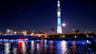 東京ホタル 2012 青い光が流れる隅田川 満月大潮の夜に 東京スカイツリ...