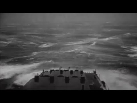 Typhoon Hits US Navy 3rd Fleet Ships at Sea Big Storm Giant Waves Extreme Damage WW2 Footage