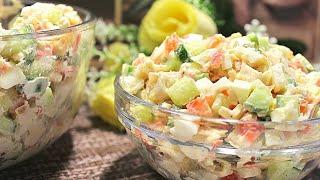 Салат с крабовыми палочками и плавленым сырком