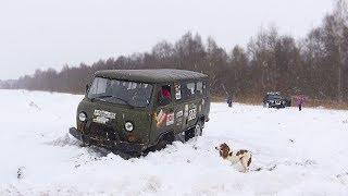 В чём сила Буханки?! Nissan Patrol страхует. Снежное бездорожье, блоки, грязь. Лебёдка, Оффроад 2018