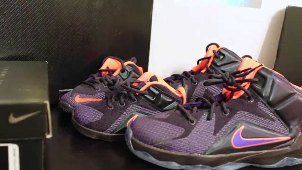 Kids Nike LeBron 12 Hyper Grape Instinct Sneaker Review - YouTube 116b746f83f0