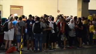 Migrants board trains in Vienna