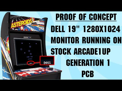 """Arcade1up Mods: Proof of Concept - 19"""" Dell Monitor running on stock A1UP Asteroids PCB. from Shaun Watson"""