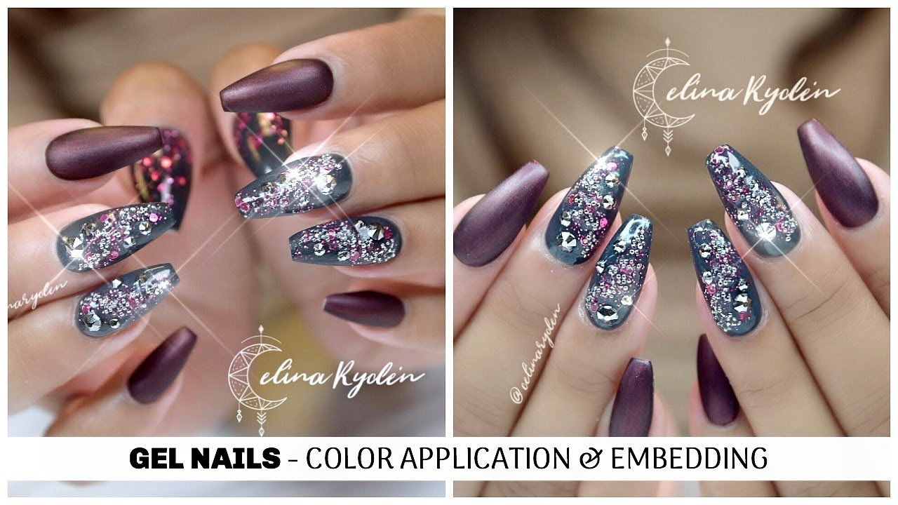 TUTORIAL | COLOR APPLICATION & EMBEDDING NAIL ART | COFFIN ...