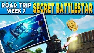 Fortnite Road Trip Challenge #7 and ENFORCER OUTFIT - Secret Loading Screen Battlestar Location