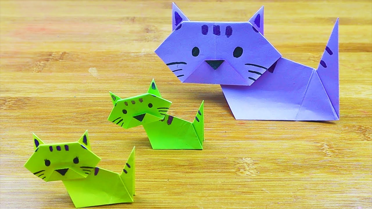 Origami Cat How To - Easy Origami for Kids. - YouTube   720x1280