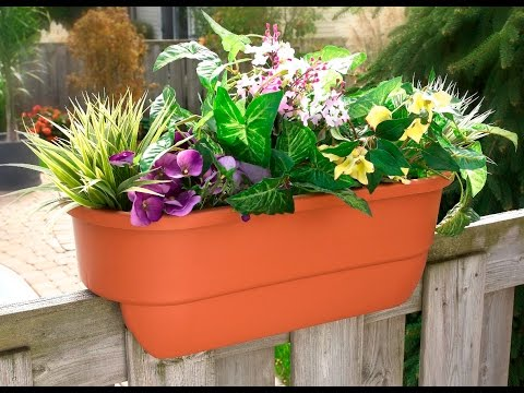 """24"""" Dual Deck Railing Planter from Apollo Exports"""