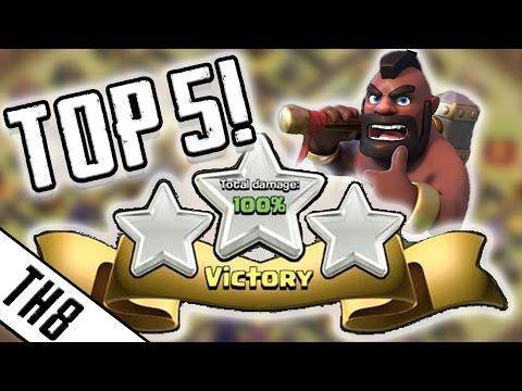Clash Of Clans | TOP 5 BEST 3 STAR WAR STRATEGIES FOR TH8 | TOWN HALL 8 WAR ARMIES 2016