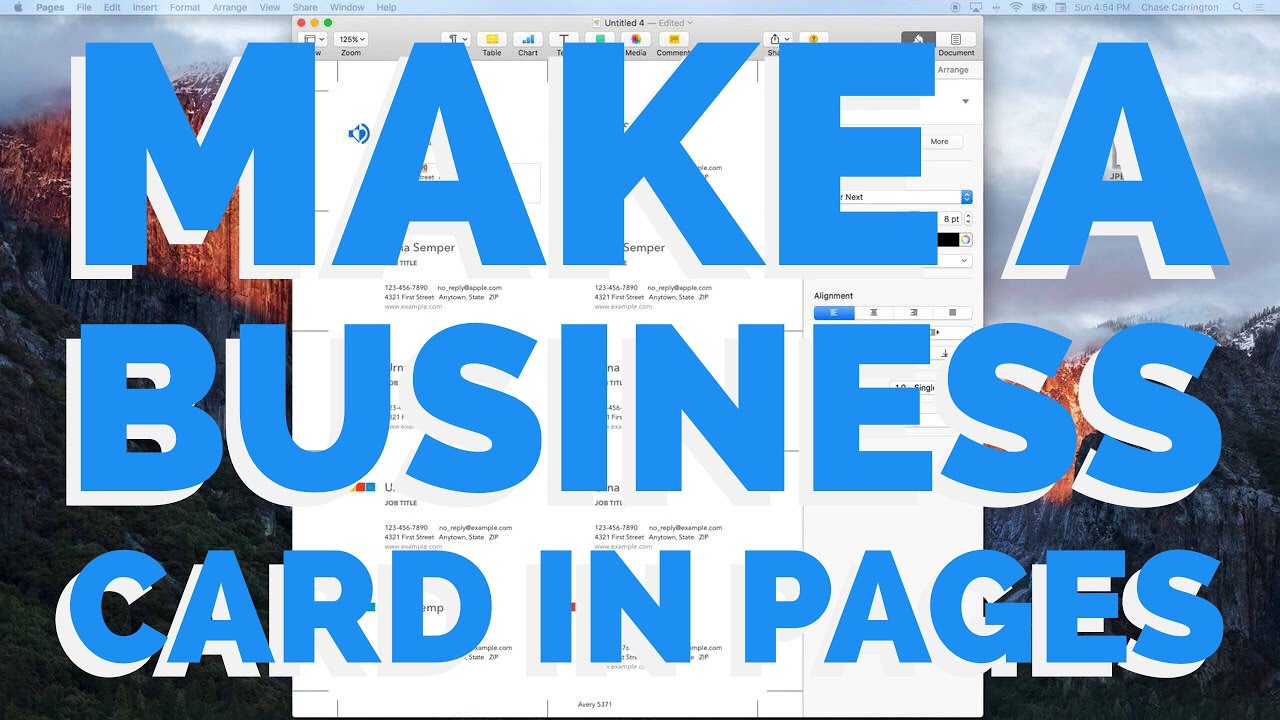 How To Make A Business Card In Pages For Mac (2016) - YouTube