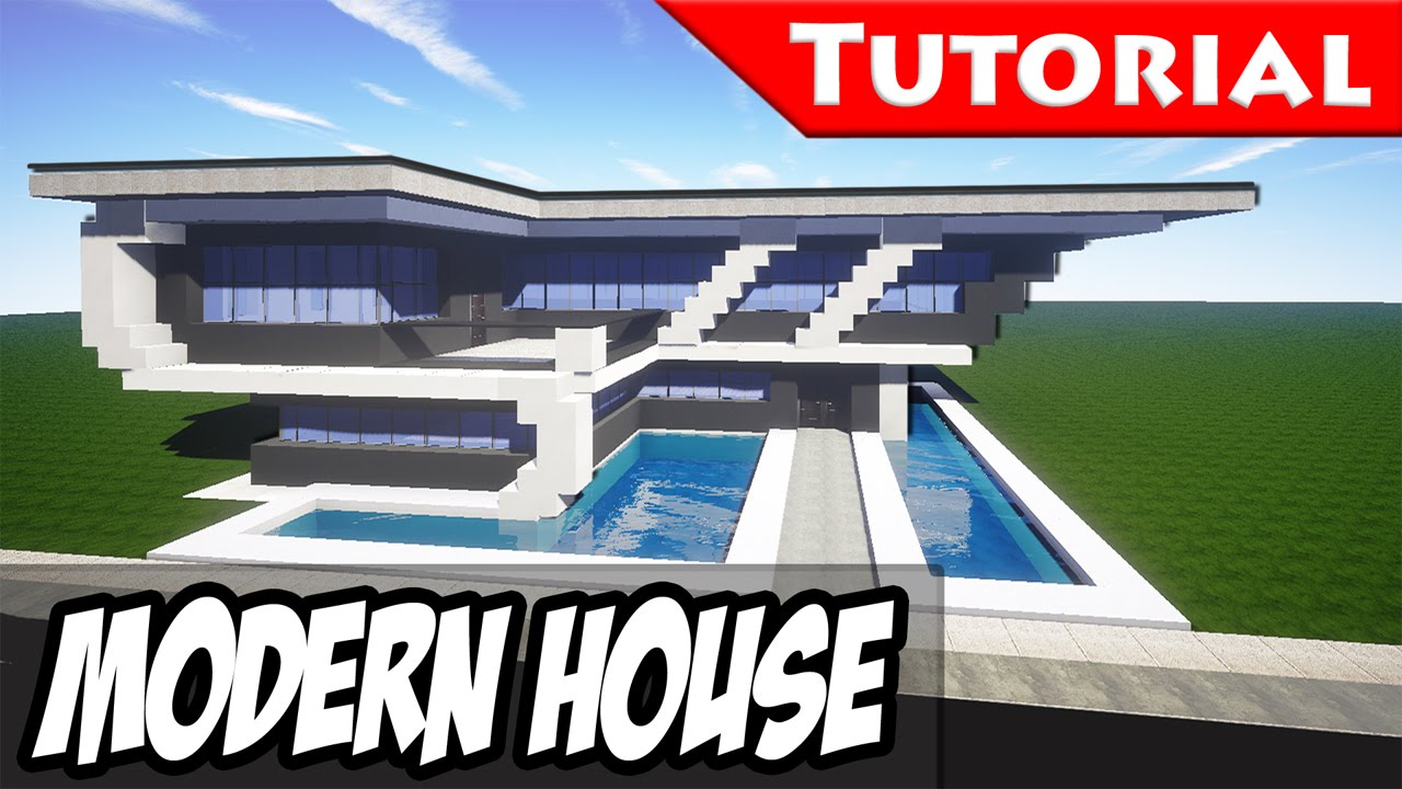 Minecraft easy modern house mansion tutorial 8 for Big modern house tutorial