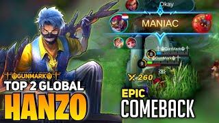 Download Lagu MANIAC ! EPIC COMEBACK ! TOP 2 GLOBAL HANZO 2020 | By ༒☬GunMark☬༒ | Mobile Legends mp3