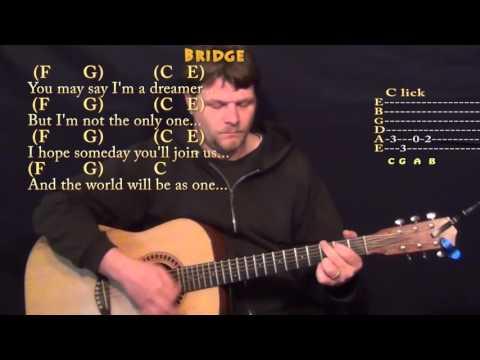 Imagine (John Lennon) Guitar Lesson Chord Chart in C with Lyrics