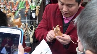 Blowing Candy Into Animal Shapes  (Chinese Street Food)  Chinese Street Vendor