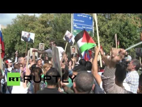 В Дамаске во время проведения акции в поддержку России обстреляли посольство РФ