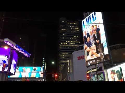 Nighttime Walk Through Toronto's Dundas Square.