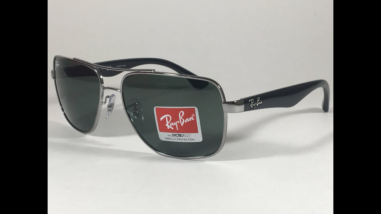 7077fcd5bd New Authentic Ray-Ban Square Pilot Sunglasses Gunmetal Silver Gray Black  Green Lens rb3483 004 71