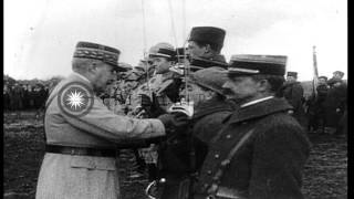 Generals review the French troops and decorates the soldiers in Verdun, France. HD Stock Footage
