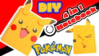 DIY Pikachu 4 in 1 Notebook - Back to School Crafts
