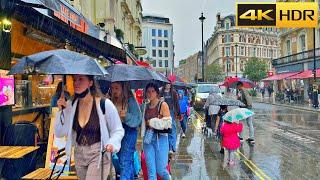 ☔1 Hour Rain Walk in London ⛈ Heavy Rain and Thunderstorms- ASMR [4K HDR]