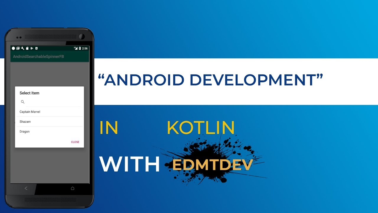 Kotlin Android Tutorial - Searchable Spinner with Firebase