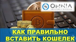 OMNIA - Как правильно вставить или поменять крипто кошелек в кабинете