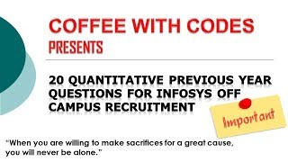 20 Aptitude Previous Year Questions Fully Solved For Infosys Off Campus Recruitment Drive
