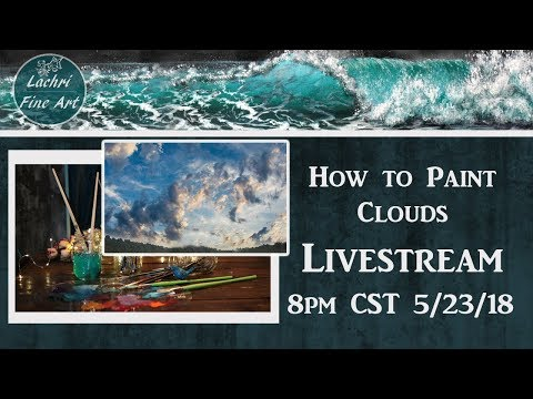 How to paint clouds - Acrylic Painting Livestream & Art Chat - Lachri
