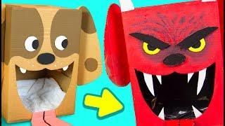 DIY Evil Cardboard Dog - Halloween Decor | Craft Ideas for Kids on Box Yourself