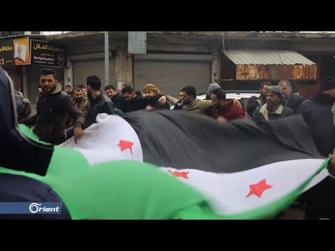 وقفة احتجاجية في مدينة سراقب تنديداً بقصف مدن وبلدات إدلب  - 16:58-2019 / 12 / 31