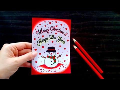 ทำการ์ดวันคริสต์มาสและปีใหม่ ด้วยสีไม้ How to make Merry Christmas and Happy New Years Card #16