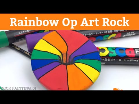 Op Art Rainbow Hole Rock Painting Tutorial for Beginners thumbnail
