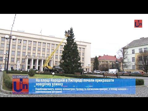 На площі Народній в Ужгороді почали прикрашати новорічну ялинку
