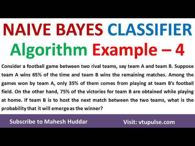 4.  Solved Example Naive Bayes Classifier to classify New Instance Football Match Example by Mahesh