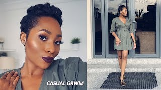 ANOTHER CASUAL GRWM | SIMPLE EYE MAKEUP + BOLD LIPS | DIMMA UMEH