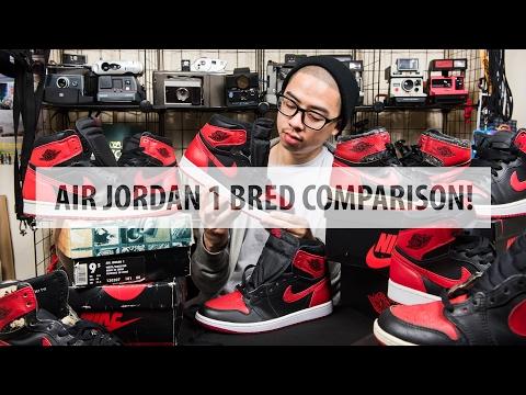 "Air Jordan 1 ""Bred"" ""Banned""Comparison! 1985 1994 2013 2016   @dunksrnice"