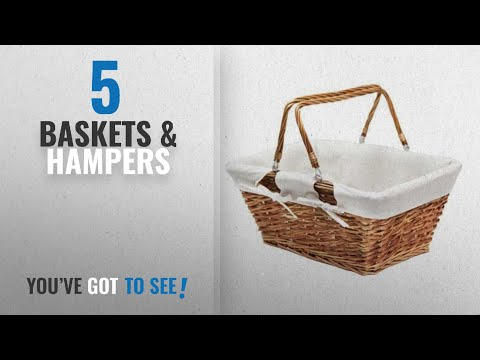 Top 10 Baskets & Hampers [2018]: JVL Buff Split Willow Shopping Storage Basket with Cream Lining