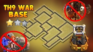 Clash Of Clans TH9 anti 3 star war base NEW UPDATE 2017:ANTI GoWiVa/anti LaVaLoon/anti GoVaBo