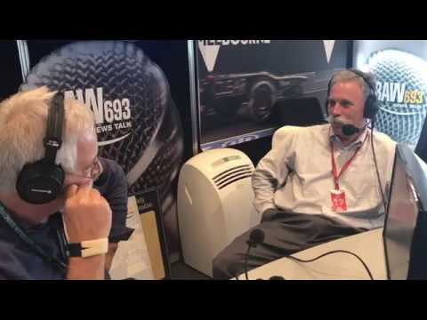 F1 Chairman Chase Carey with Neil Mitchell at the 2017 F1 Melbourne Grand Prix