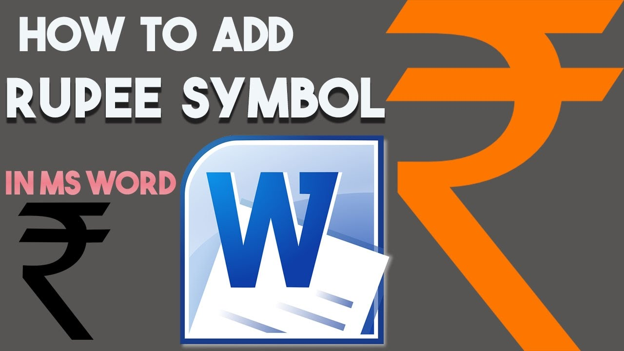 How To Type Rupee Symbol In Microsoft Word Document How To Insert