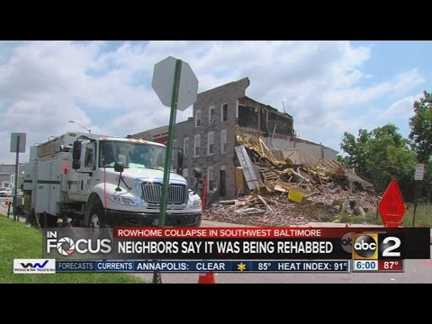 2 rowhomes collapse in Baltimore