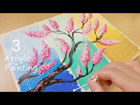 How to Paint 3 Pieces Acrylic Painting on One Canvas