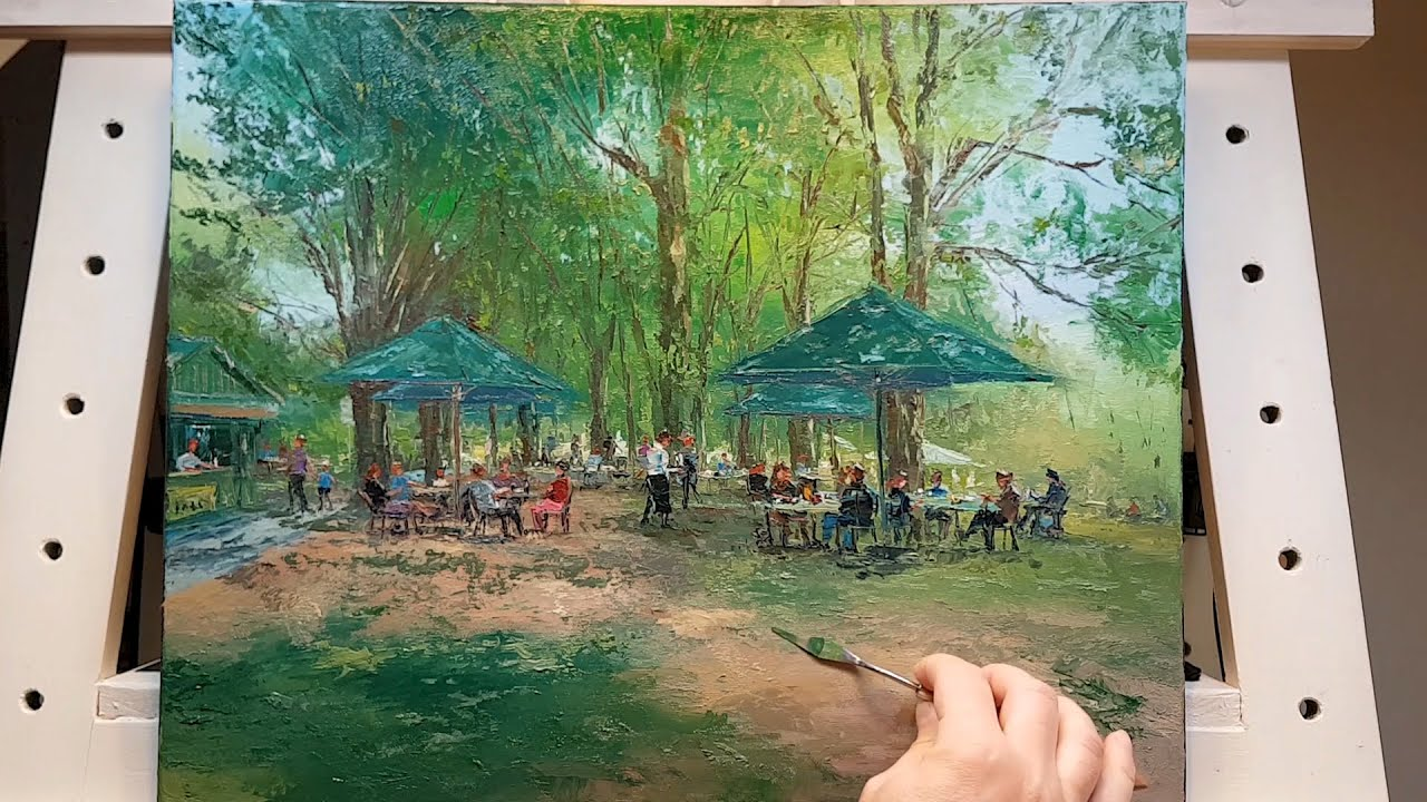 Lunch at the Park - Palette Knife Brush Oil Painting ...