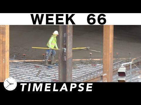 One-week construction time-lapse with over 42 closeups: Week 66: Ironworkers; cranes; welders; more