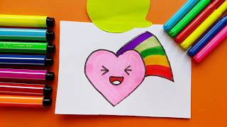 How to Draw A Cute Heart With Colored Rainbow